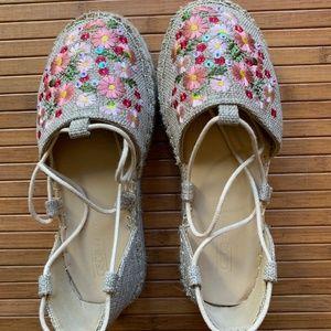 Asos Embroidery Lace up Flatform Espadrilles